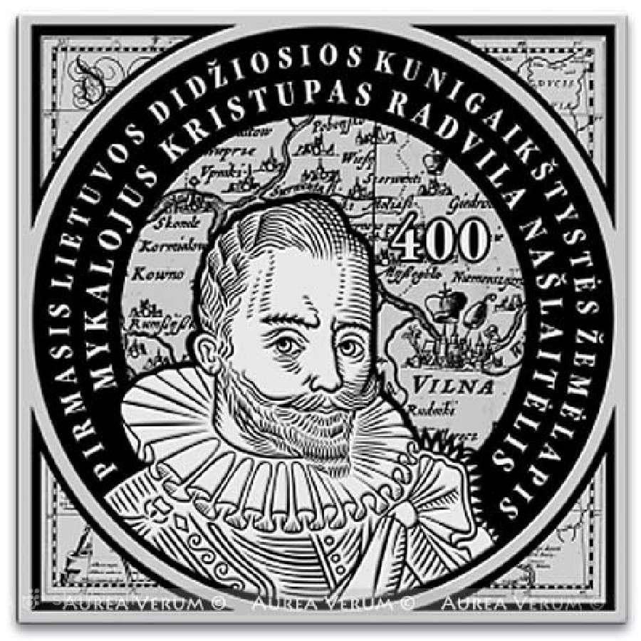 100 Litų sidabrinė moneta LDK žemėlapiui 400 m.