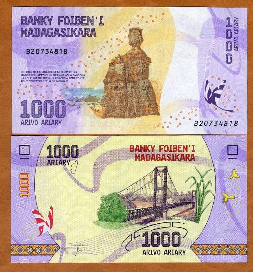 Madagaskaras 1000 Ariary 2017m. P-new Unc