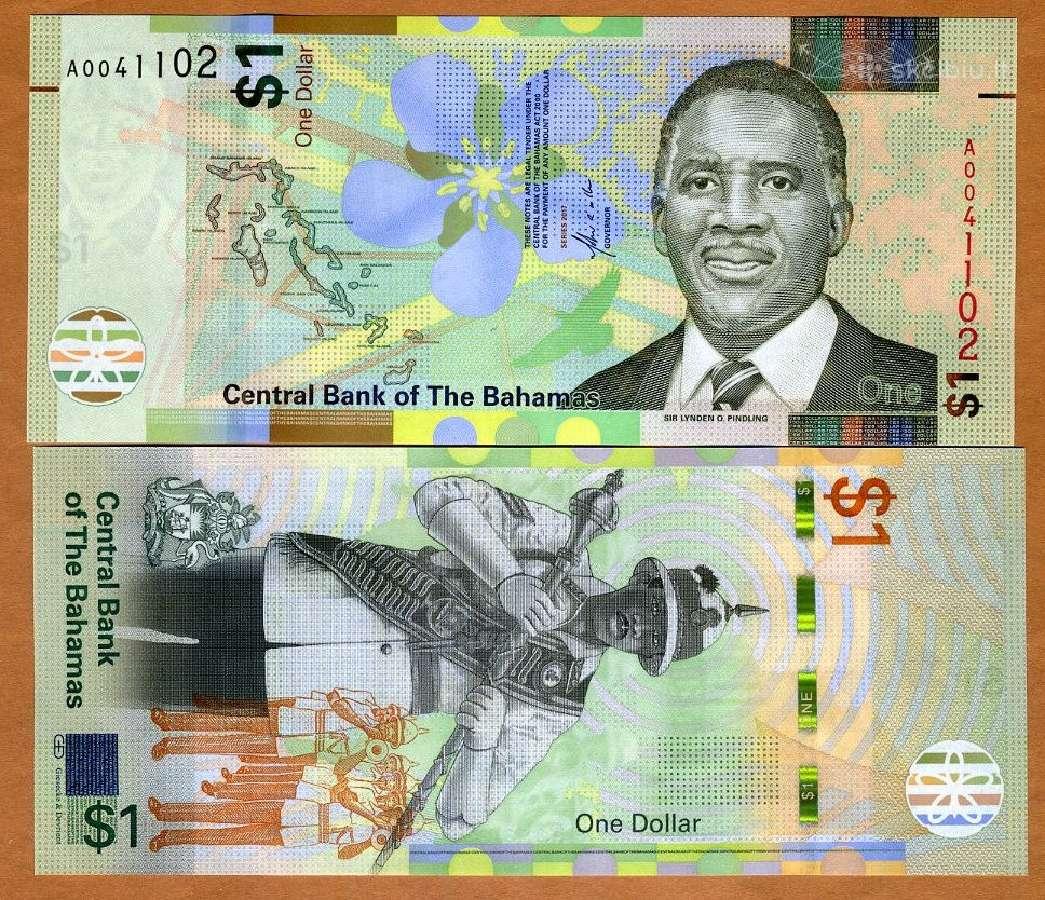 Bahamos 1 Dollar 2017m. P-new Unc