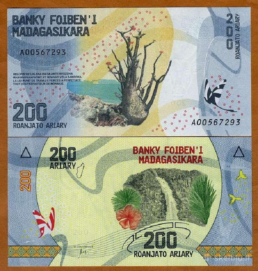Madagaskaras 200 Ariary 2017m. P-new Unc