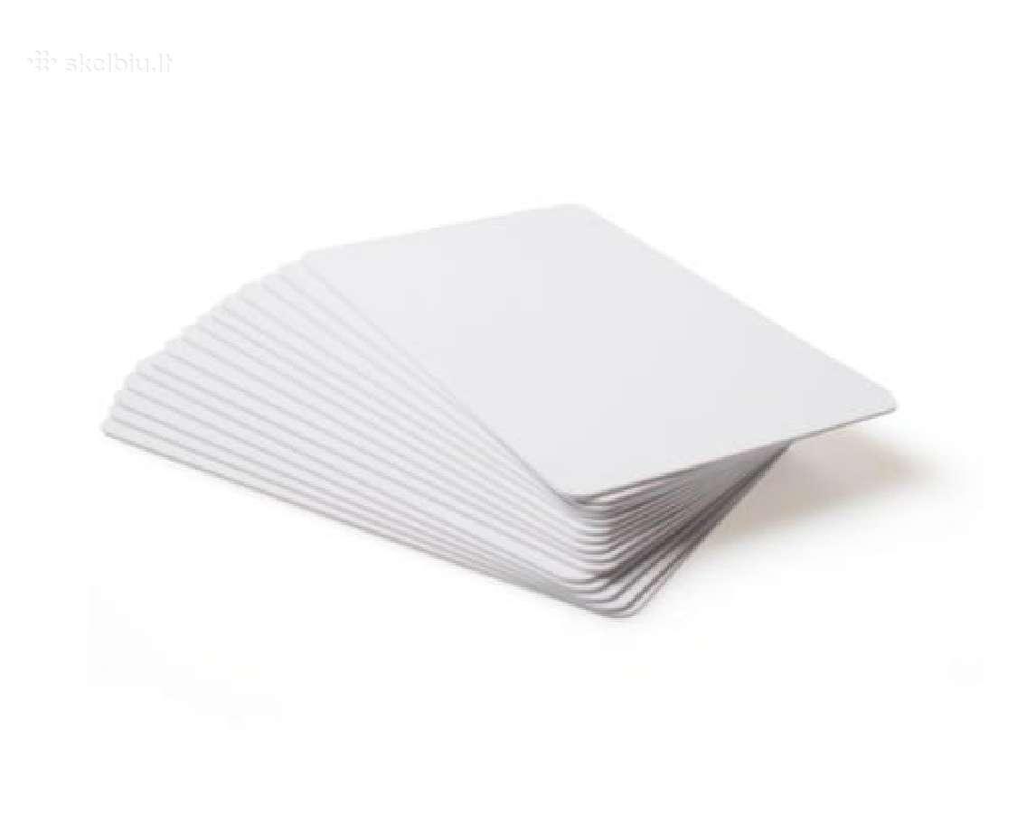 100 x Cr80 Baltos Pvc Plastikinės kortelės