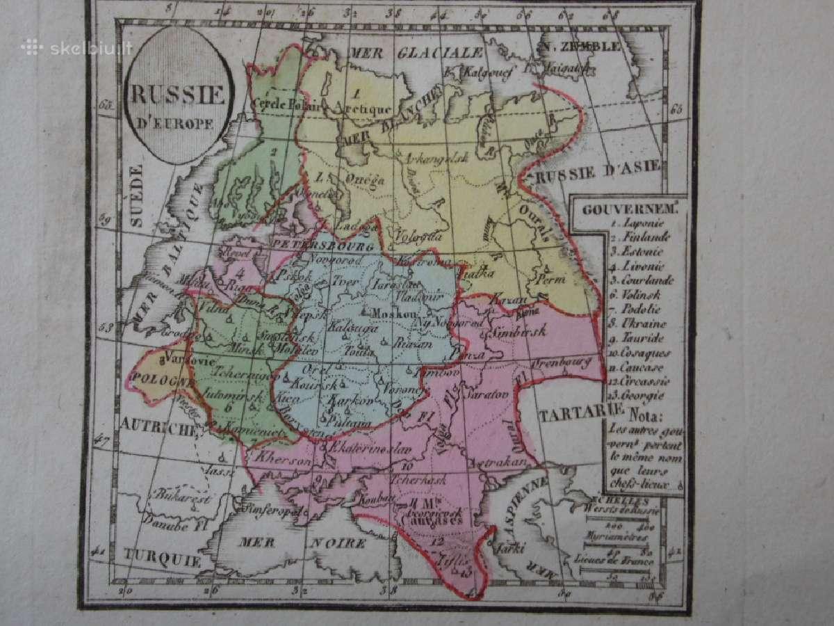 Žemėlapis. Rusija / Lietuva. 1821m. Maire.