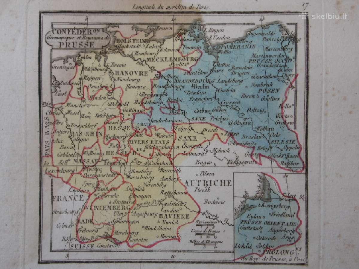 Žemėlapis. Prūsija / Lenkija. 1821m. Maire.