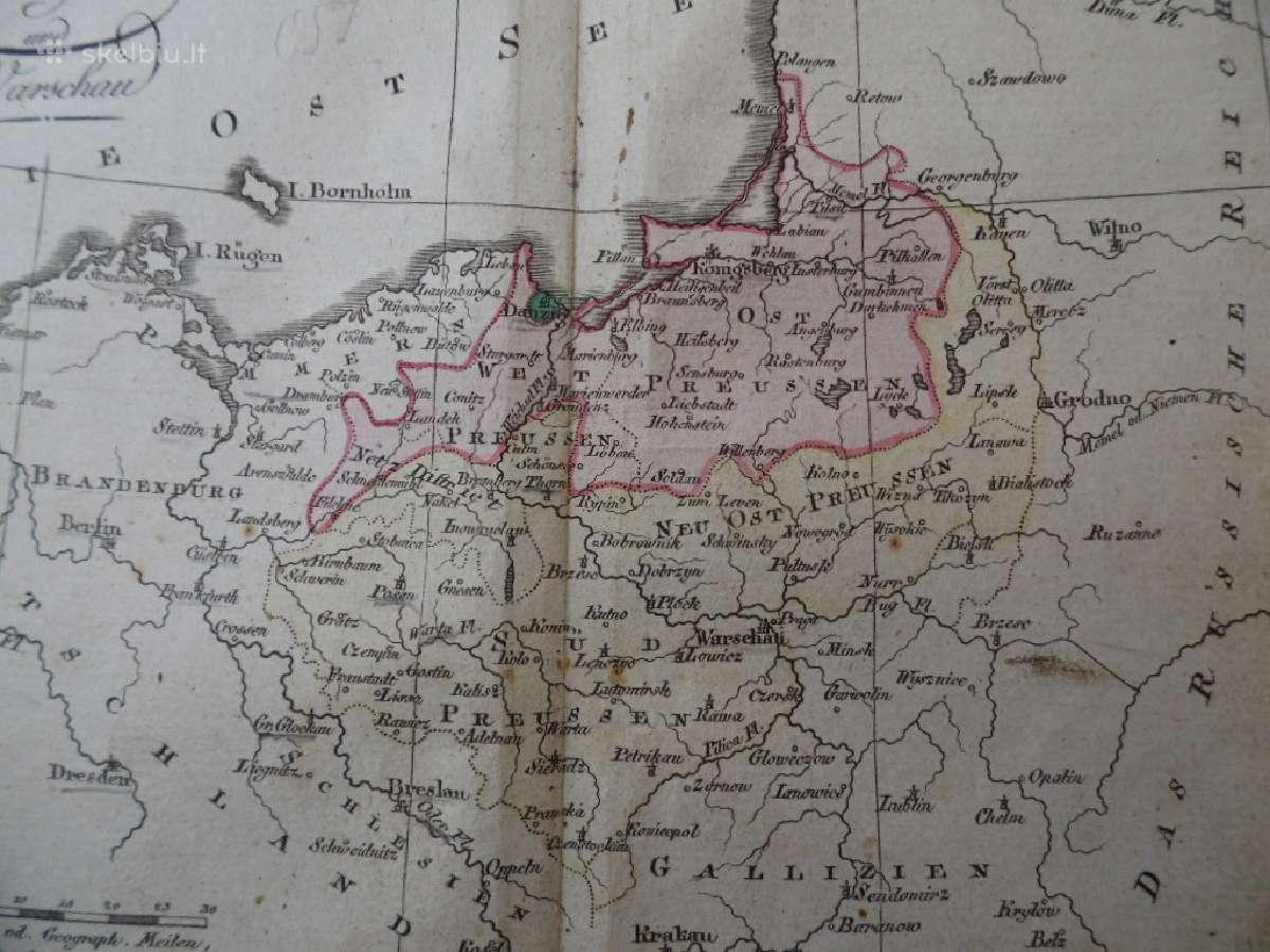 Žemėlapis. Prūsija/ Lenkija/ Lietuva.1808m. Walch.