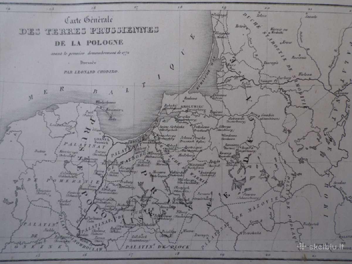 Žemėlapis. Lietuva / Lenkija. 1836m. Chodzko.