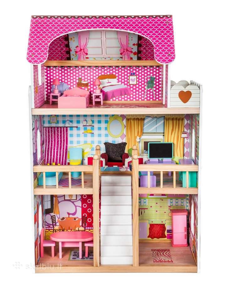 Didelis medinis lėlių namas su baldais tik 89,99