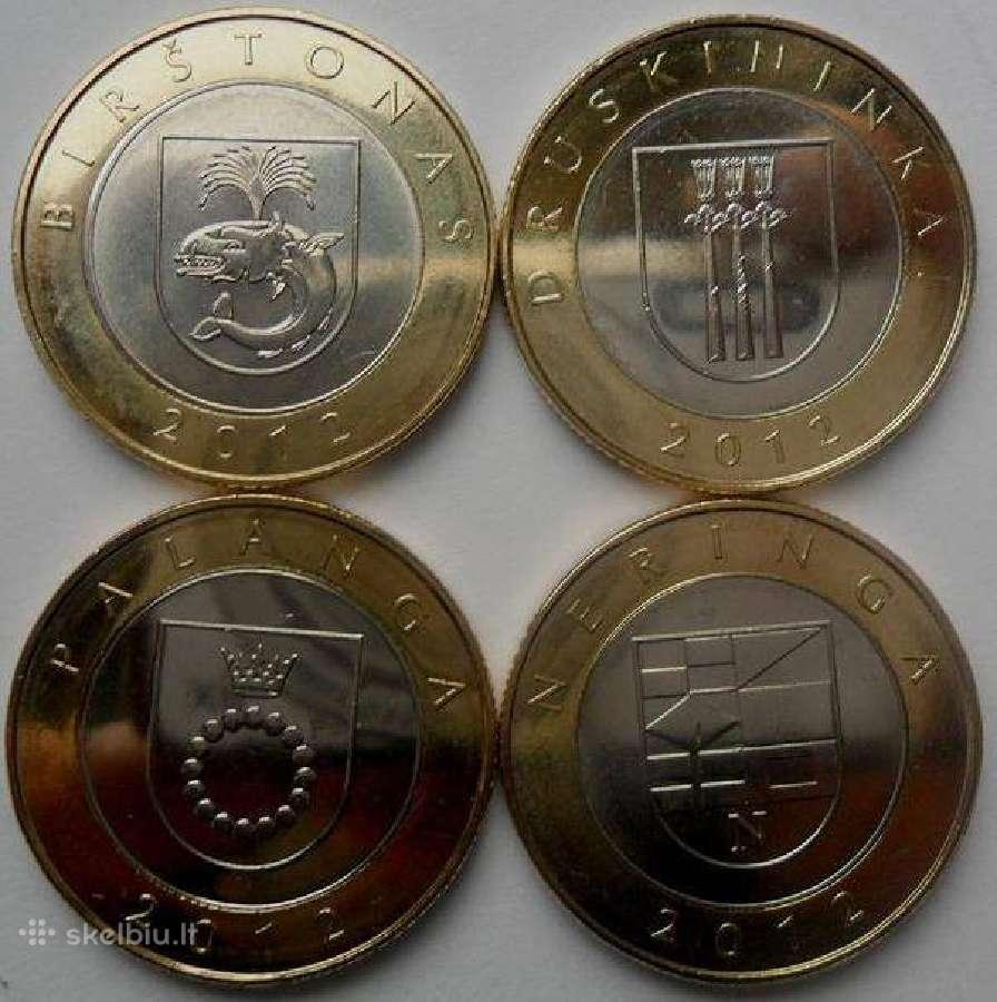 2 Lt apyvartinės monetos kurortams Unc