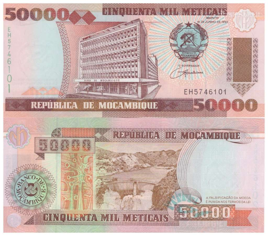 Mozambikas 50000 Metikalu 1993m. P138 Unc