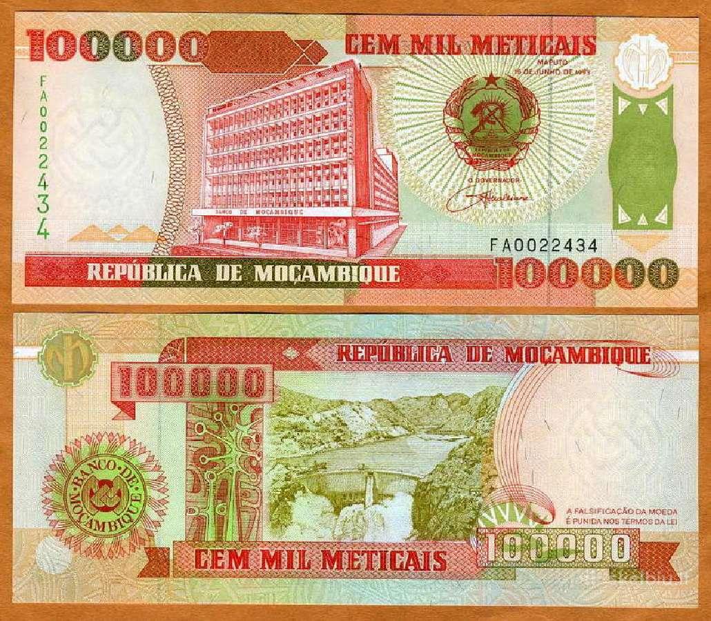 Mozambikas 100000 Meticais 1993m. P139 Unc