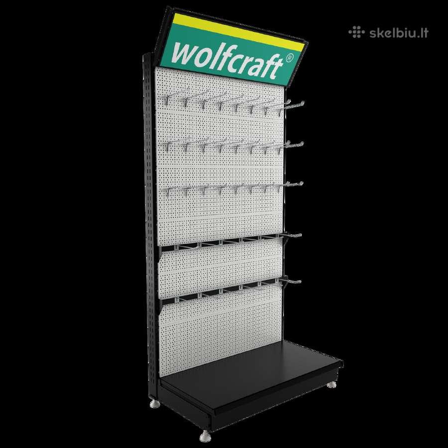 Naujos perforuotos parduotuvių lentynos