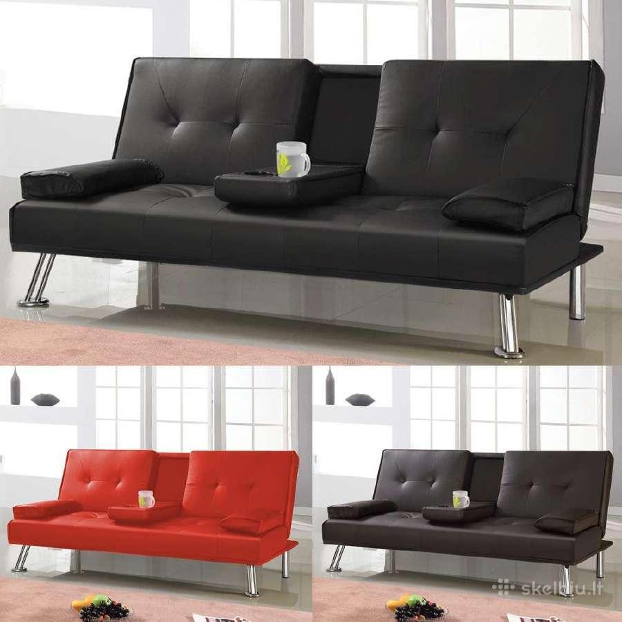 Naujos odinės sofos - lovos su bariukais
