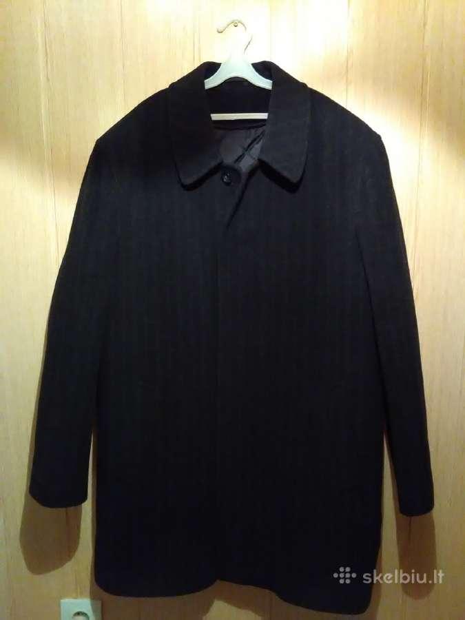Juodos spalvos vyriškas paltas