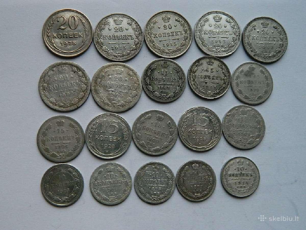 Sidabrines monetos 10,15,20 kapeiku.