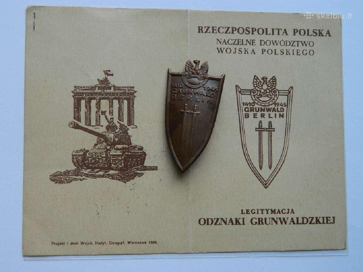 1410-1945grunvaldo apdovanojimas su dokumentu