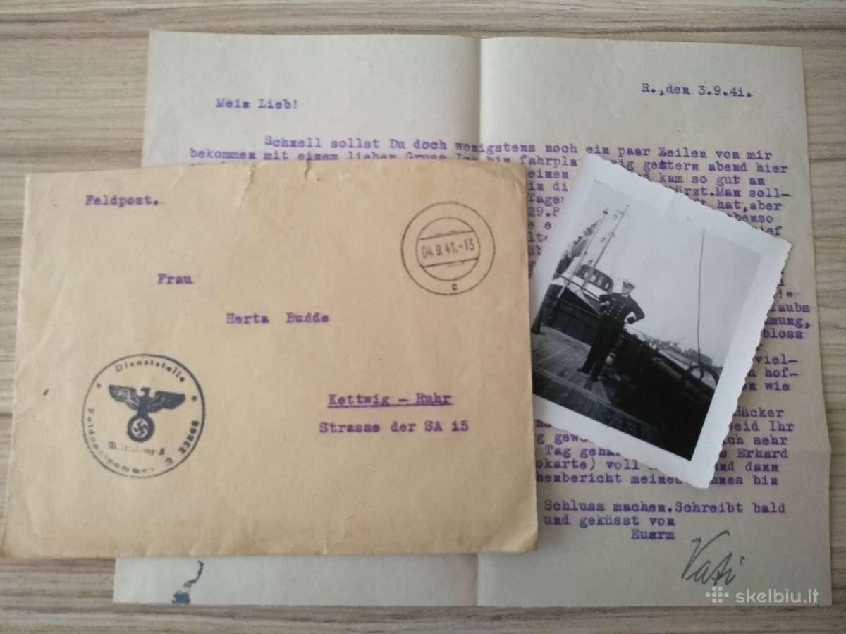 WWII Vokietija du laiškai su nuotraukomis