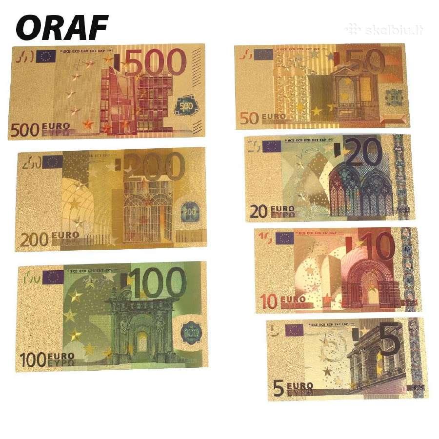 Paauksuoti eurų banknotai