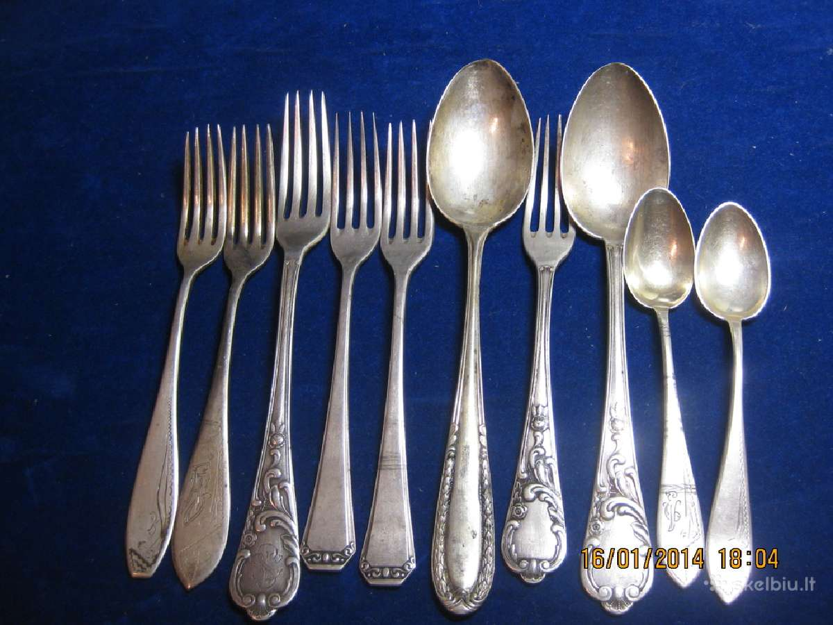 Domina senoviniai sidabriniai stalo įrankiai