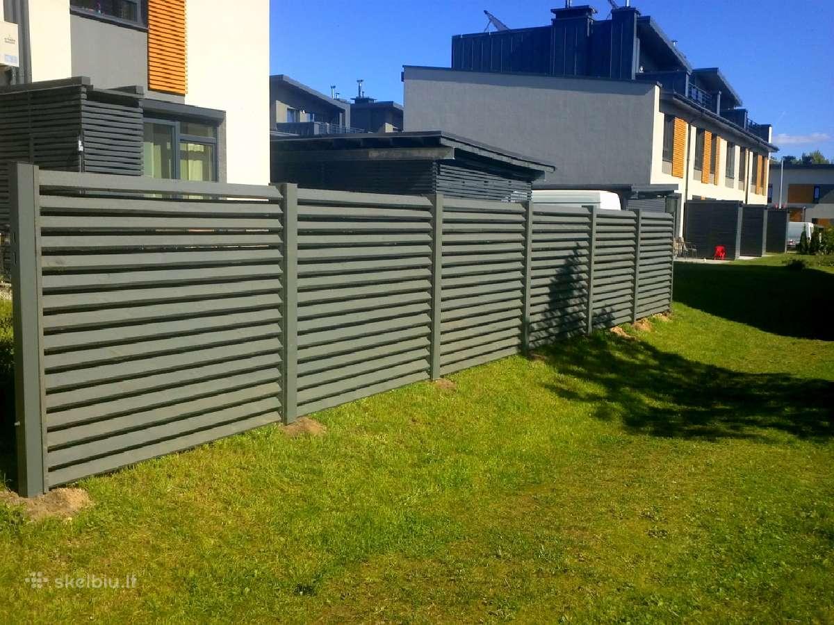 Tvoros, vartai, automatika, medinės terasos