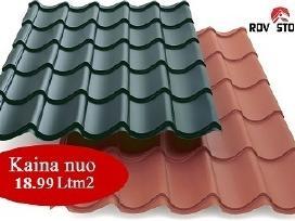 Visų tipų stogo dangos. plieninė čerpė 5.99eur/m2
