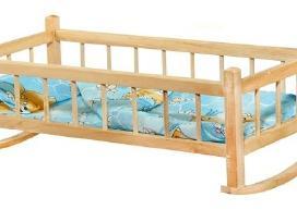 Mediniai žaislai, lovytė lėlei, piešimo lenta