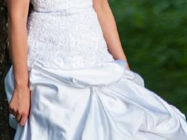 Prabangi atlasinė vestuvinė suknelė - nuotraukos Nr. 3