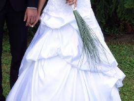 Prabangi atlasinė vestuvinė suknelė - nuotraukos Nr. 4
