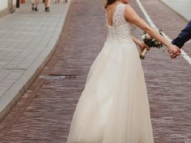 Šampano spalvos, vestuvinė suknelė (s/m)