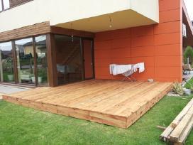 Terasos stogas, terasa, lieptas, obliuota mediena