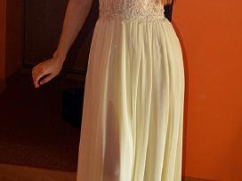 Ilga, šampano spalvos proginė suknelė