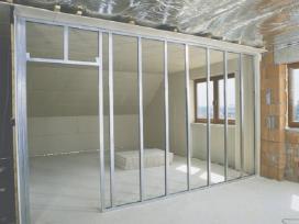 Gipso kartono darbai, pertvarų, lubų montavimas
