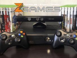 Xbox 360 + Du pulteliai + Kinect kamera + Atrištas
