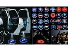 Automobilio led 3D logo logotipas šešėlis į duris