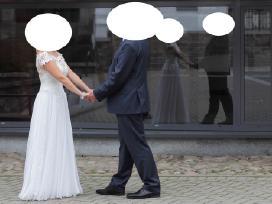 Balta vestuvine suknele neaukstai nuotakai