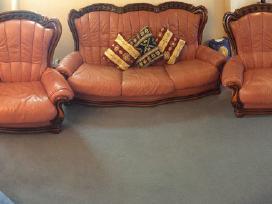 Odinės sofos ir 2 fotelių komplektas