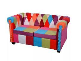 Vidaxl Chesterfield dvivietė sofa, audinys 243180