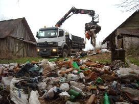 Pastatų griovimas. Statybinių atliekų išvežimas