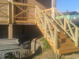 Stalius. Stogai,terasos,pavėsinės. Malkinės. Tvoro