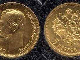 Perku Nikolajaus II carinius auksinius rublius