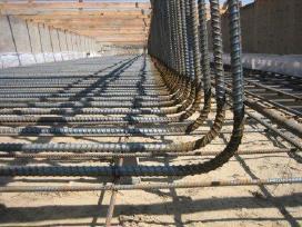 Pamatų betonavimas, armatūros rišimas, mūro darbai
