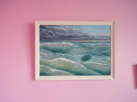 Vandeniniais dažais pieštas paveikslas jūra