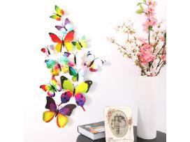 3D sienų lipdukai - margaspalviai drugeliai