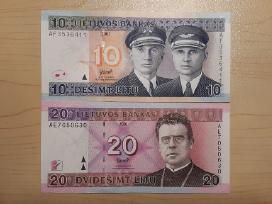 2001 m 10 lt ir 20 lt Unc banknotai