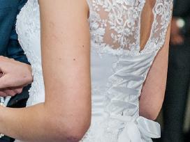 Ilga balta vestuvinė suknelė, ūgiui 185cm