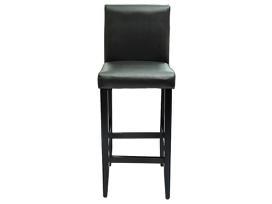 2 Modernios Juodos Dirbtinės Odos Baro Kėdės