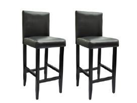 2 Modernios Juodos Dirbtinės Odos Baro Kėdės - nuotraukos Nr. 4