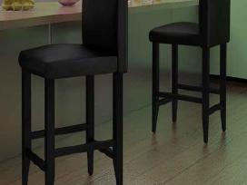 2 Modernios Juodos Dirbtinės Odos Baro Kėdės - nuotraukos Nr. 5