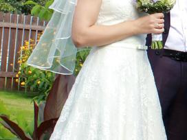 A tipo siuvinėta neilga vestuvinė suknelė - nuotraukos Nr. 2
