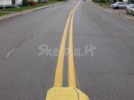 Dažai asfalto ženklinimui. Šaltas 2k plastikas