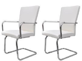 2 Baltos Modernios Valgomojo Kėdės - vidaxl