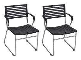 2 Juodos Kėdės su Porankiais - vidaxl